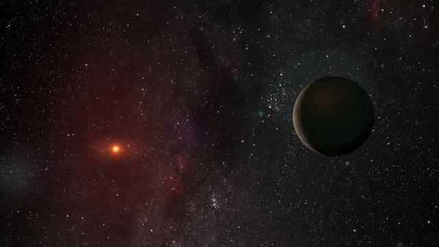 Planet orbiting a red dwarf star (artist's impression)