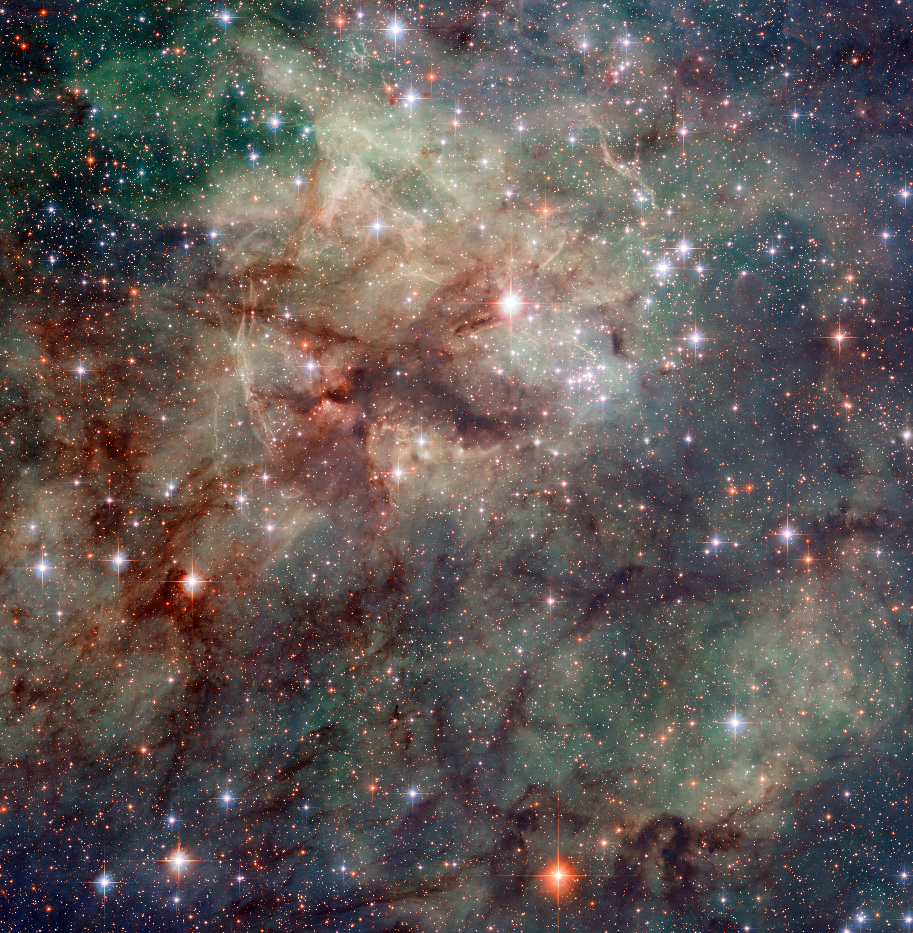 This Hubble Image Shows Part Of The Tarantula Brightest Star Forming Region In Local Universe Nebula Is Found Large Magellanic Cloud