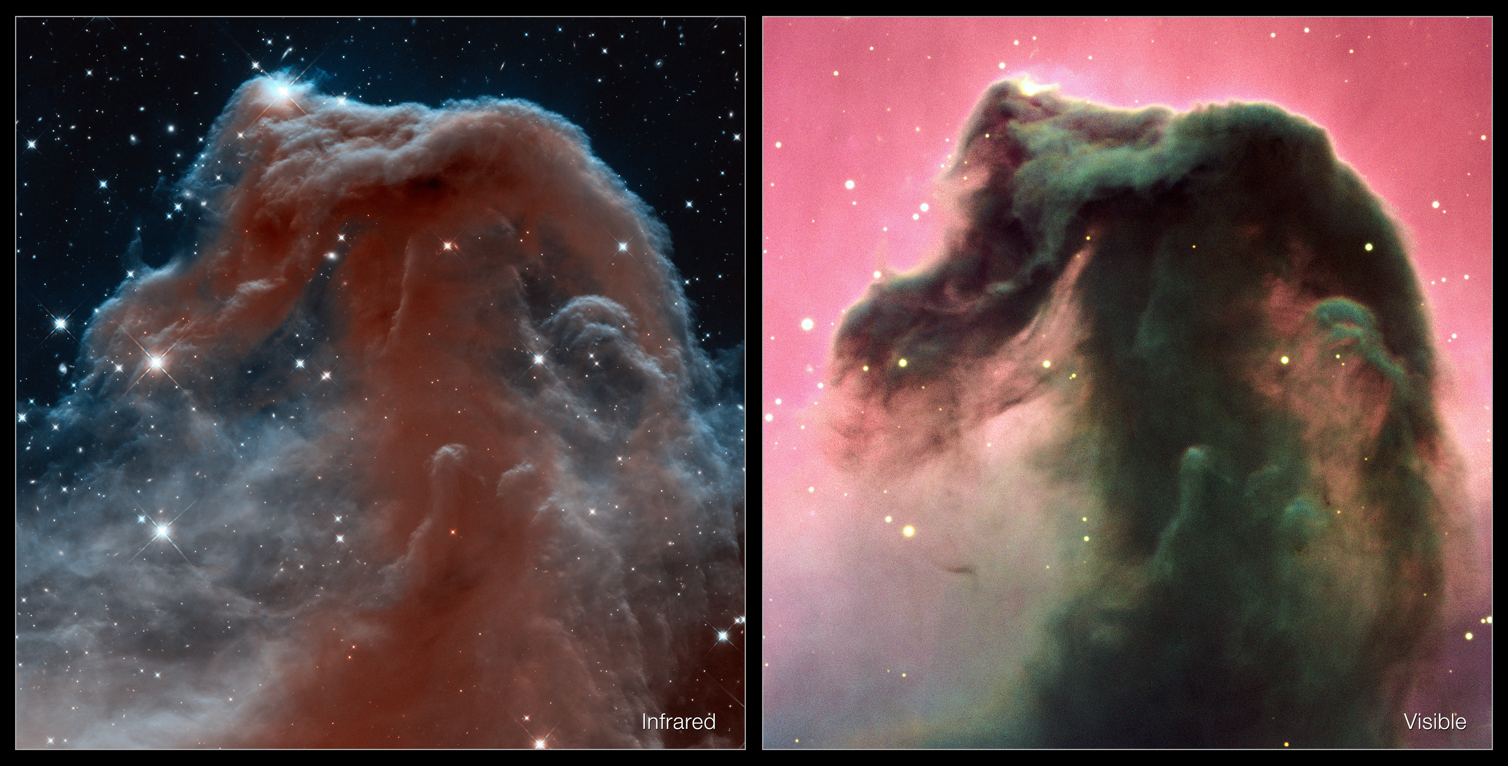 Infrared Visible Light Comparison View Of The Helix Nebula: Visible And Infrared Views Of The Horsehead Nebula