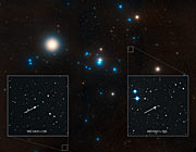 Labelled overview of the Hyades star cluster (ground-based image)