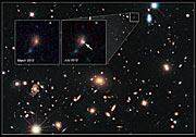 Cosmic lens MACS J1720+35 helps Hubble to find a distant supernova (annotated)