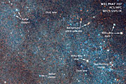 Annotated section of Hubble image of the Andromeda Galaxy