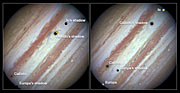 Three moons and their shadows parade across Jupiter — comparison of beginning and end of sequence, with annotations