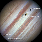 Three moons and their shadows parade across Jupiter — beginning of event, annotated