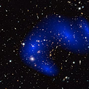 Galaxy cluster MACS J0717.5+3745 with dark matter map