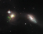 Hubble view of green filament in galaxy UGC 11185