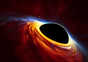 Supermassive black hole with torn-apart star (artist's impression)