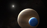 Exomoon orbiting its planet (artist's impression)