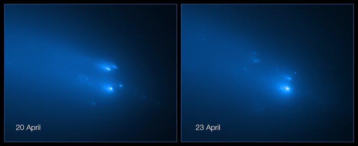 Teleskop Hubble zachytil v detailu rozpad komety ATLAS