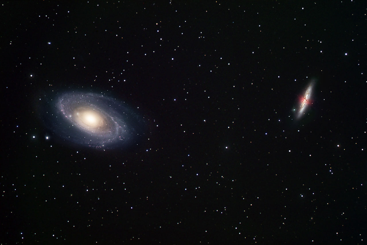 Ground Based View Of Two Galaxy Neighbours M81 And M82