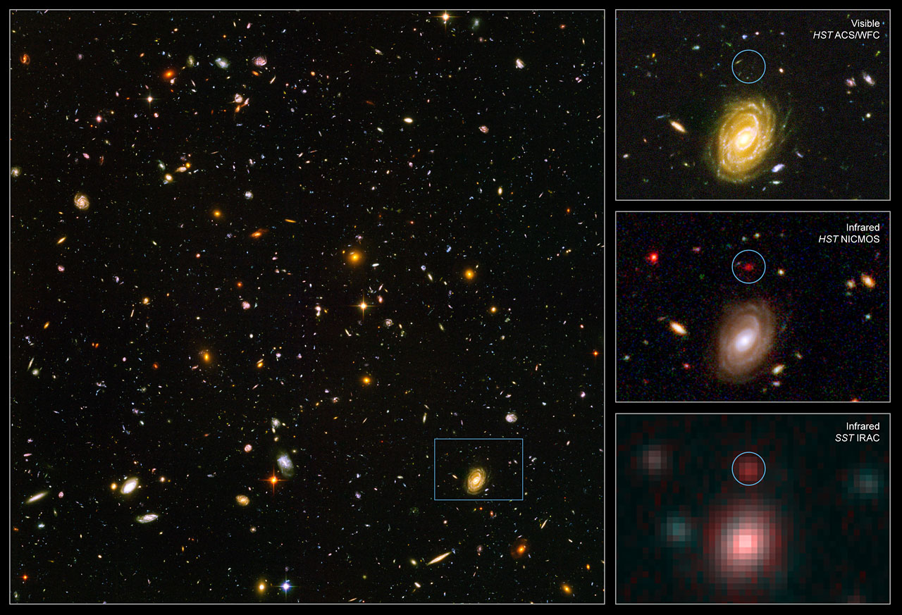 "Spitzer and Hubble team up to find ""Big Baby"" galaxy in ...