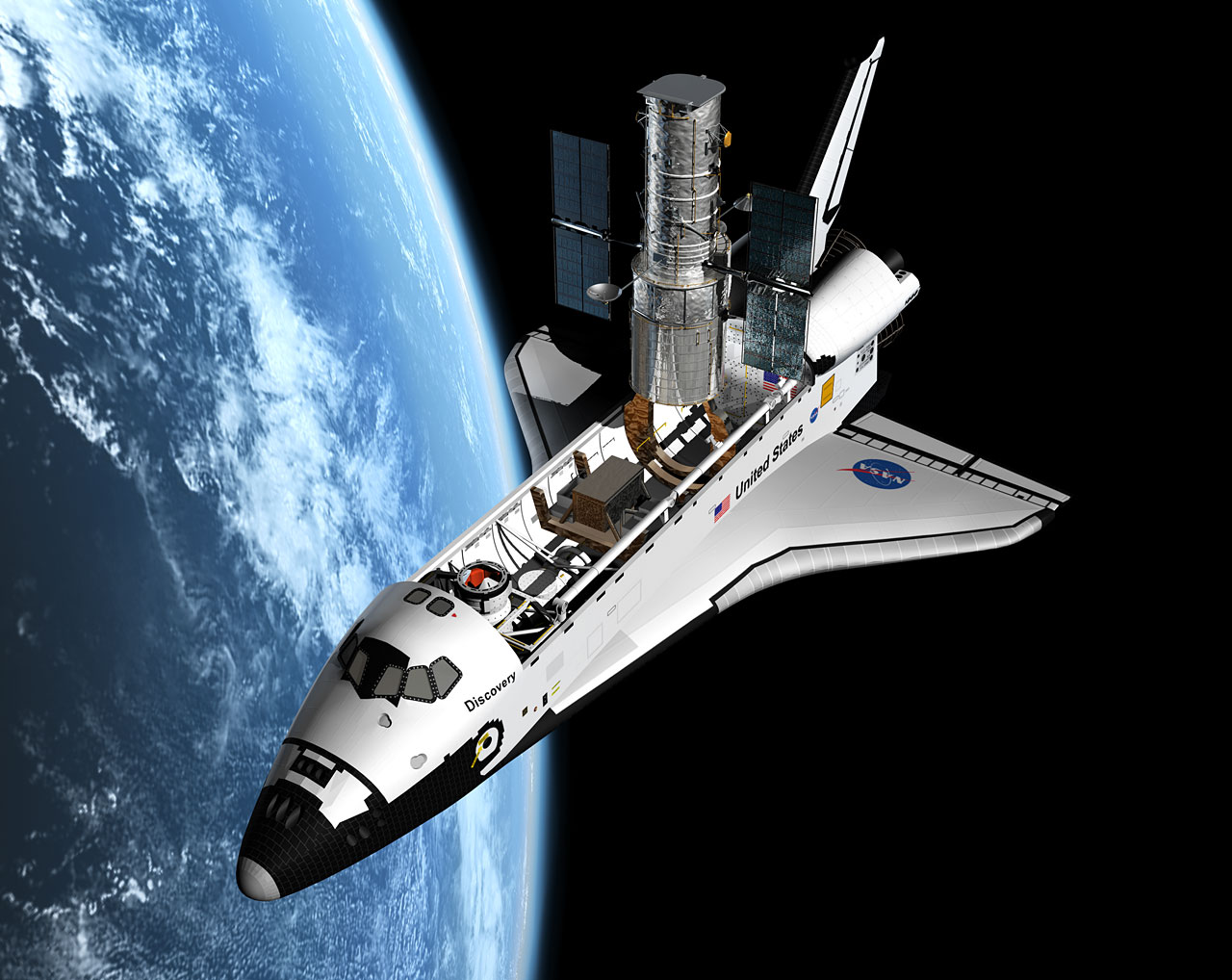 Artist's view of the Shuttle servicing mission to HST