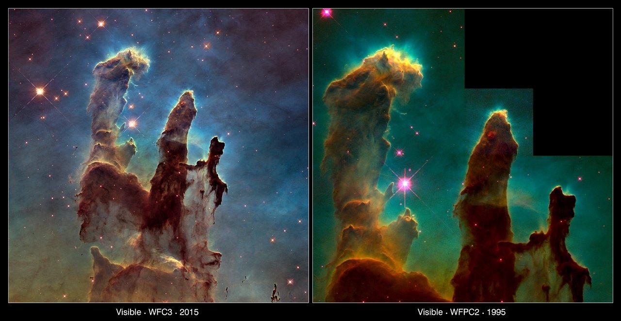 The pillars of creation 1995 and 2015 comparison esa - Pillars of creation wallpaper ...