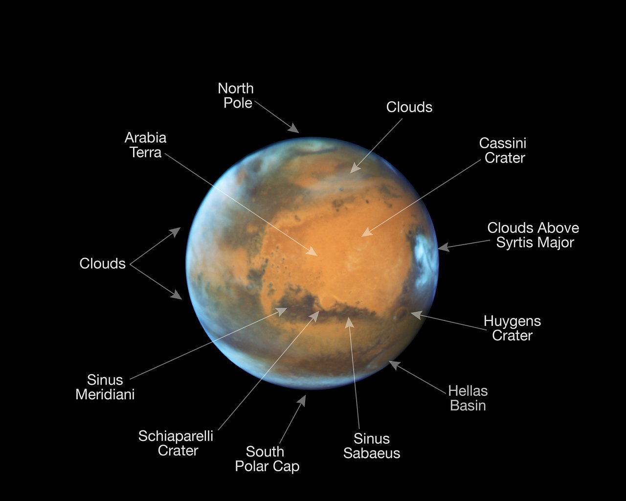 Mars in opposition 2016 (annotated version)