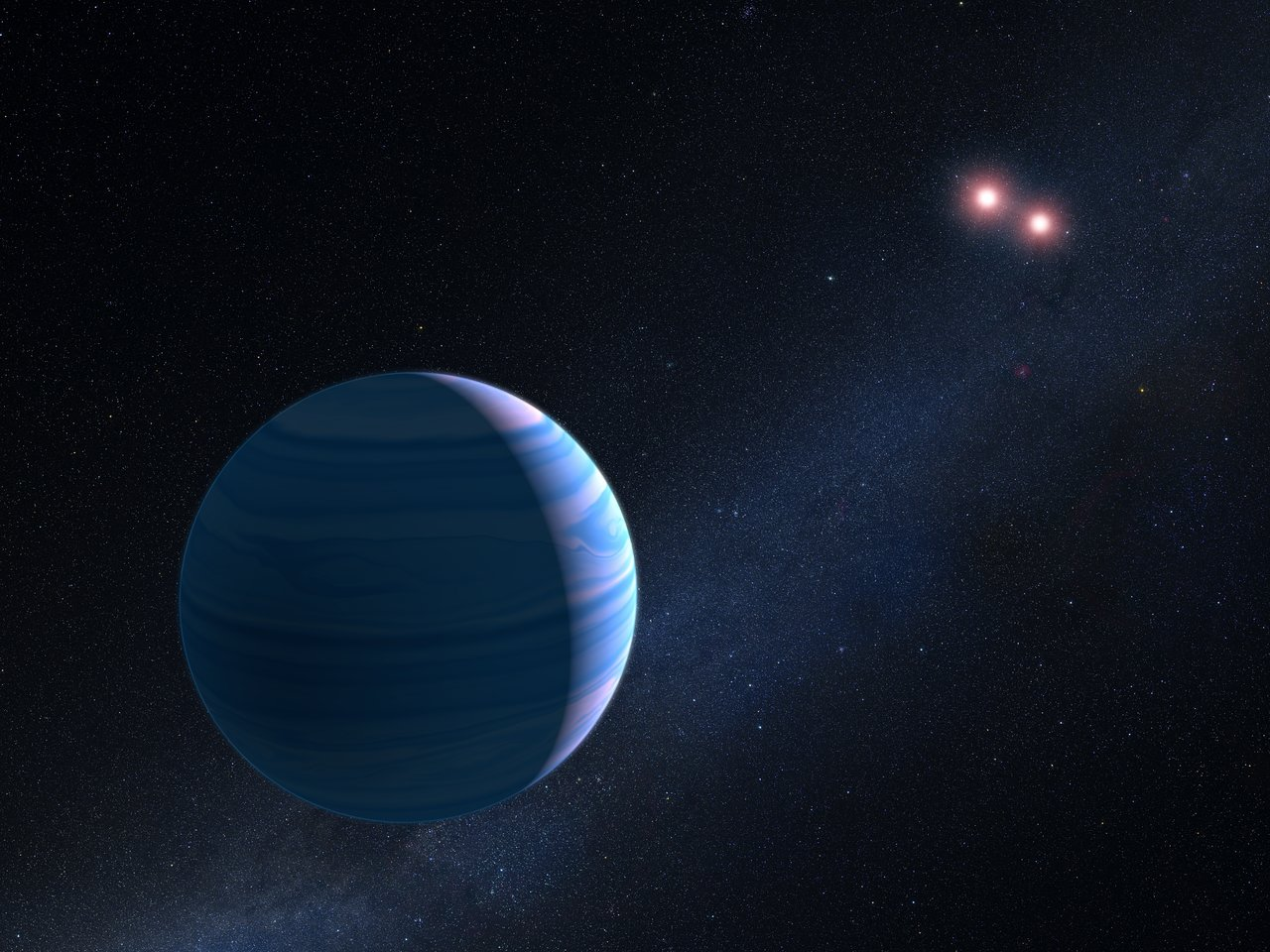 Science Release: Hubble helps find light-bending world with two suns