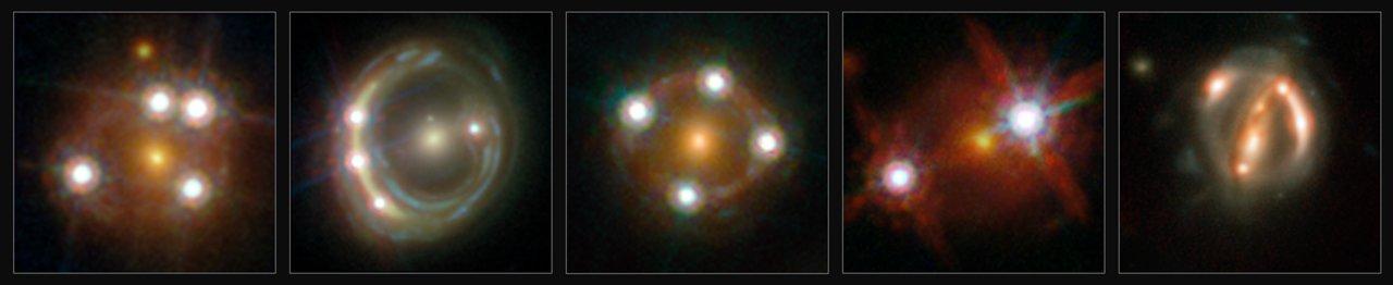 Hubble billleder af gravitionelt linsede Quasarer