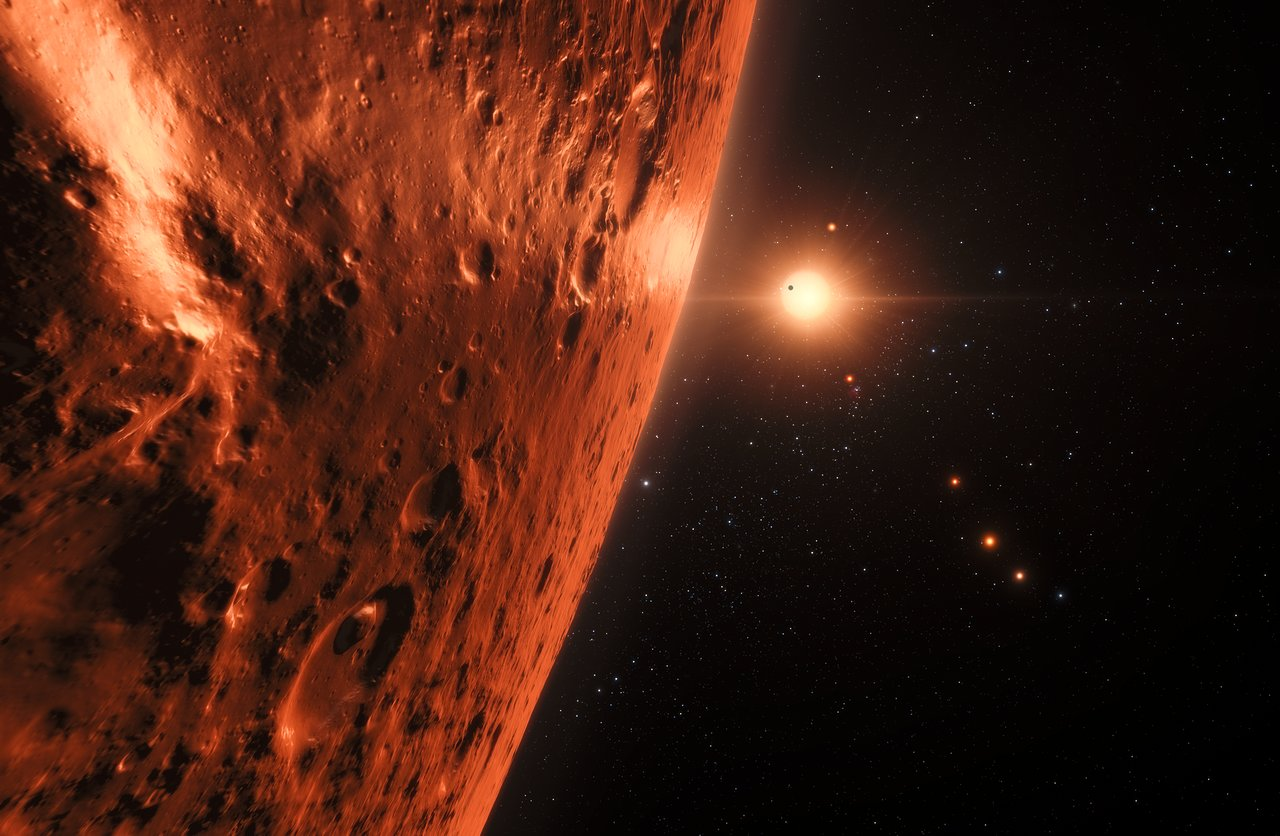Artist's impression of the TRAPPIST-1 planetary system