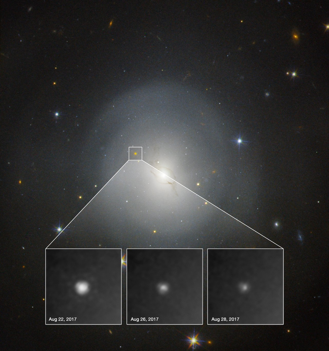 Science Release: Hubble observes source of gravitational waves for the first time