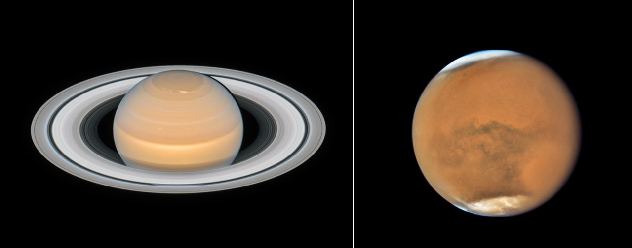 Photo Release: New family photos of Mars and Saturn from Hubble
