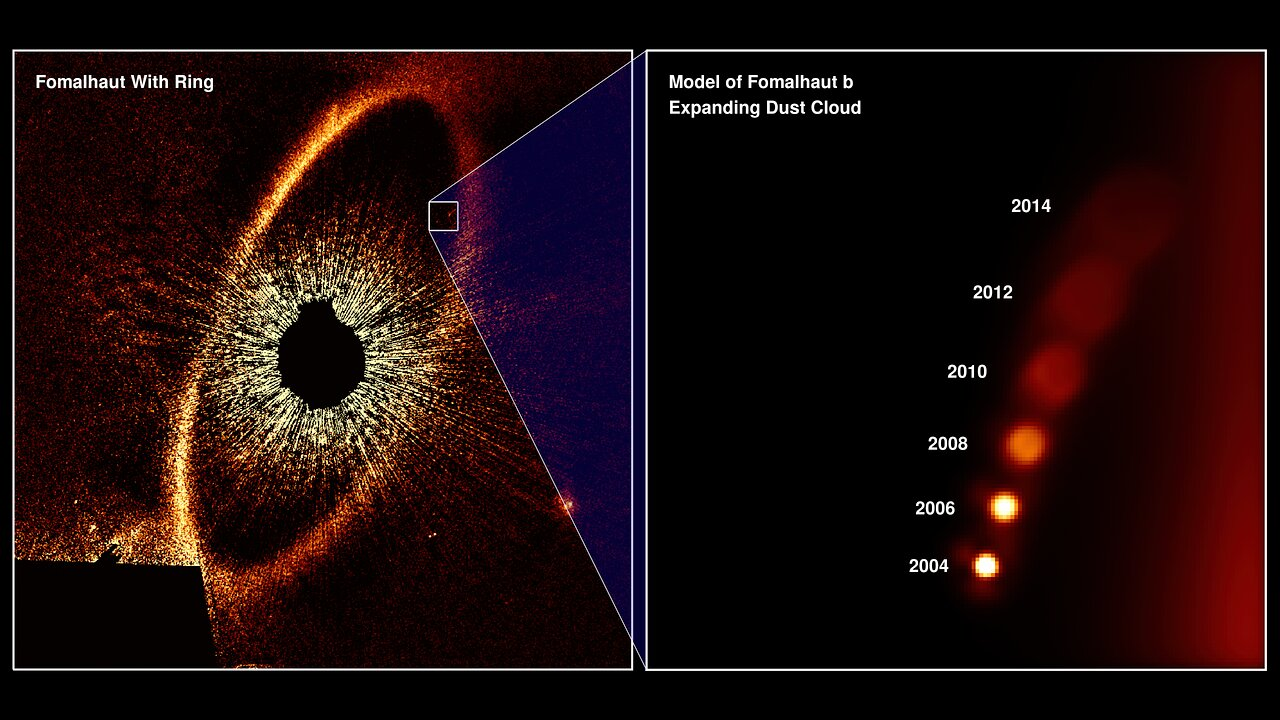 Illustration of Hubble's Observation of Fomalhaut b's Expanding Dust Cloud