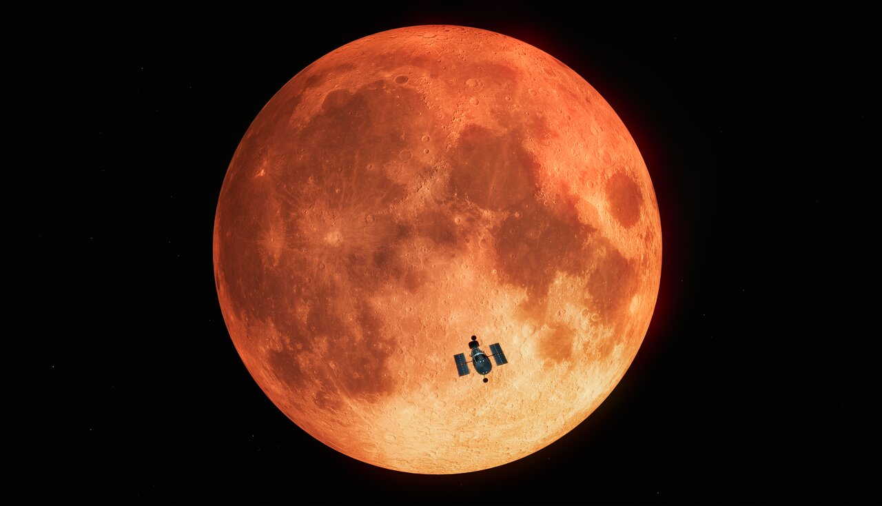 Hubble Observes the Total Lunar Eclipse (Artist's Impression)