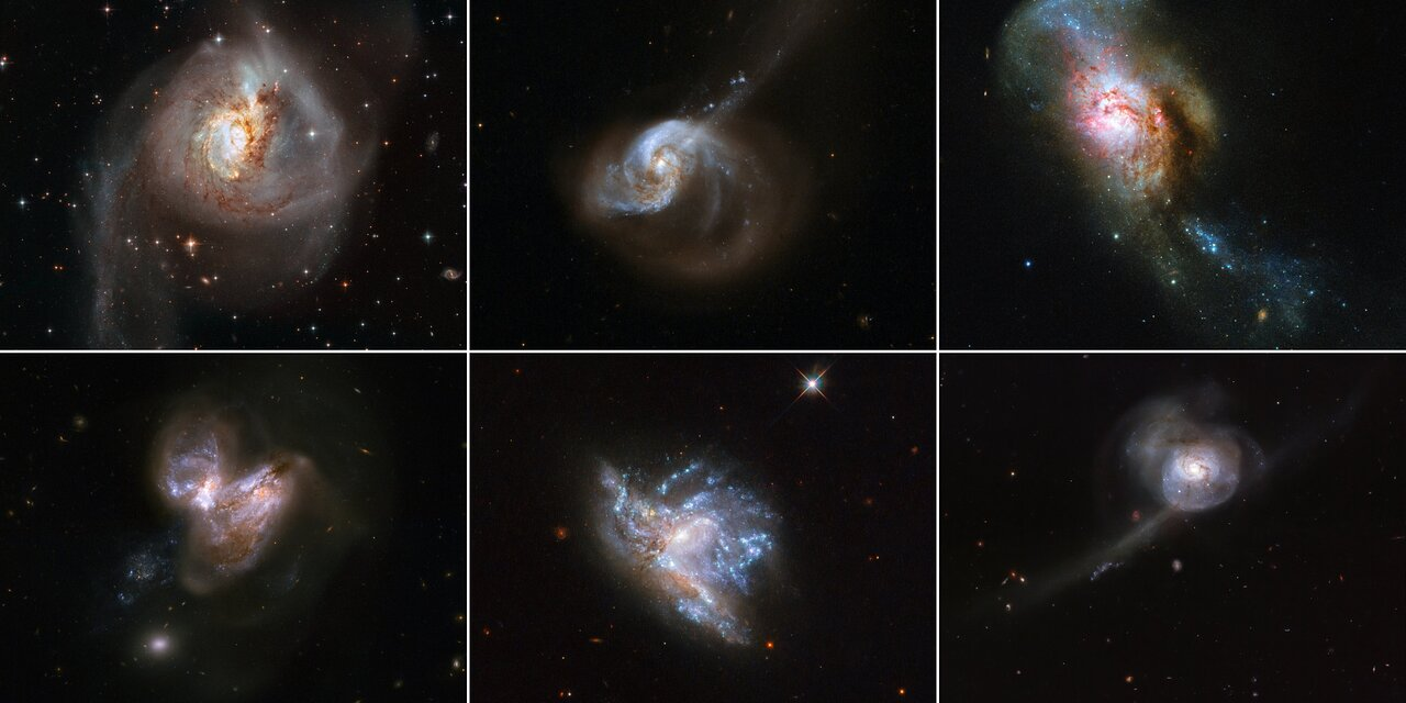 Photo Release: When Galaxies Collide: Hubble Showcases 6 Beautiful Galaxy Mergers