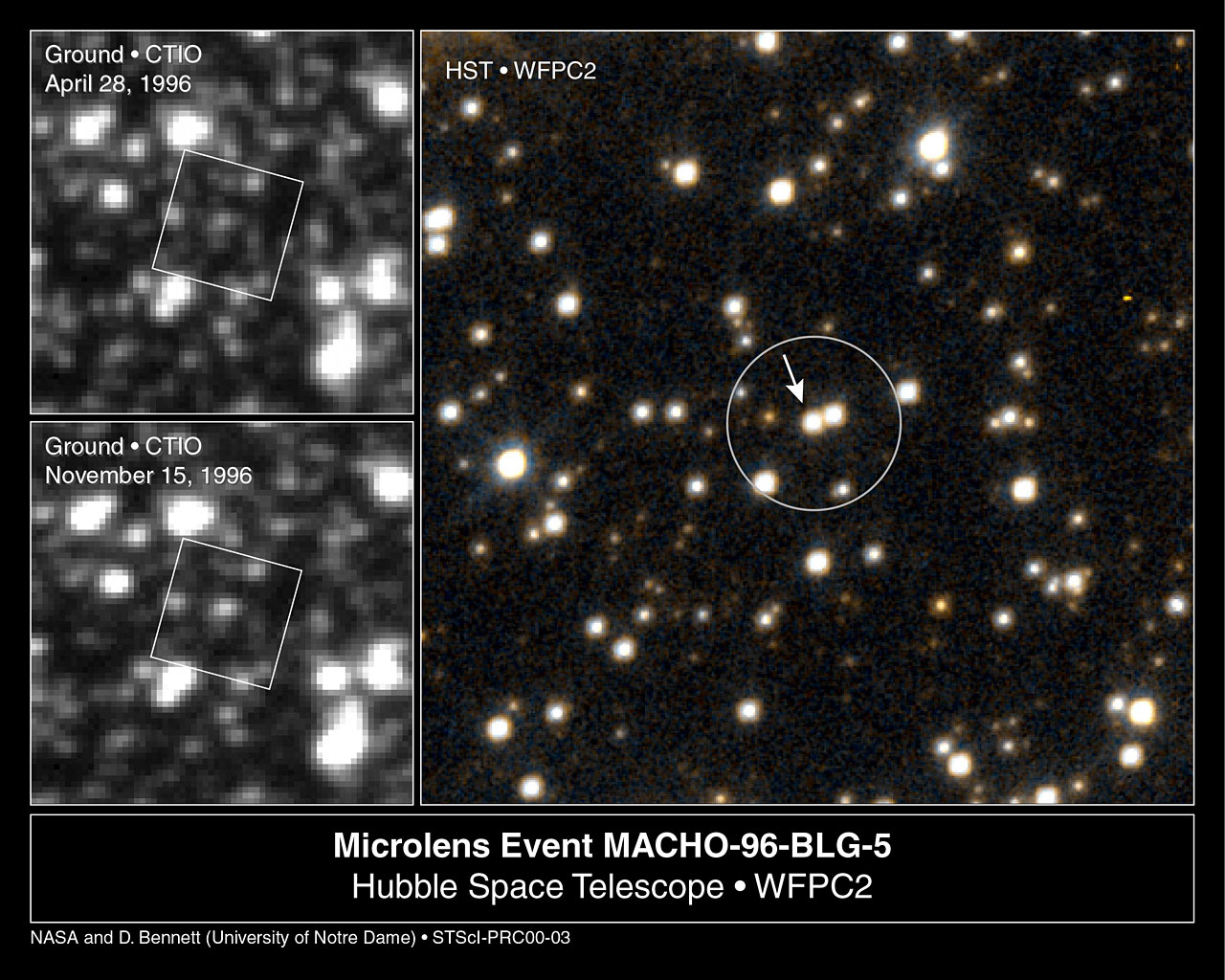 Lone Black Hole Passes In Front Of Star Hubble And Ground Based Views Esa Hubble