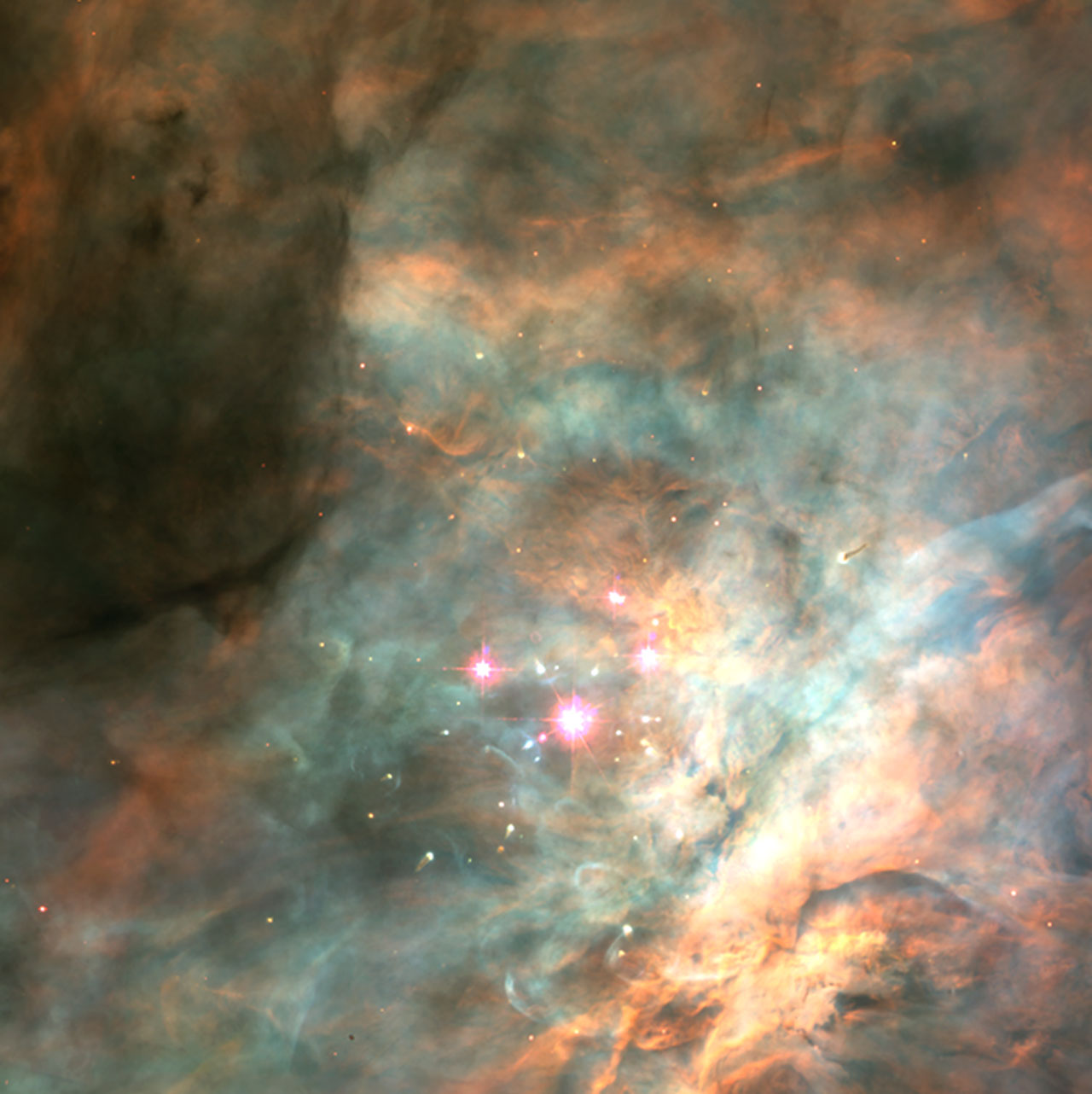 Trapezium Cluster In The Orion Nebula Esa Hubble