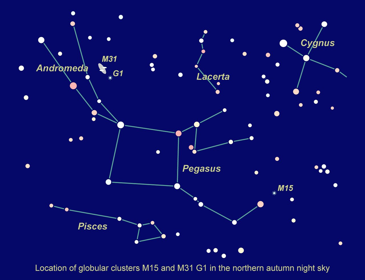 Location of M15 and M31 G1 in the northern autumn sky ...