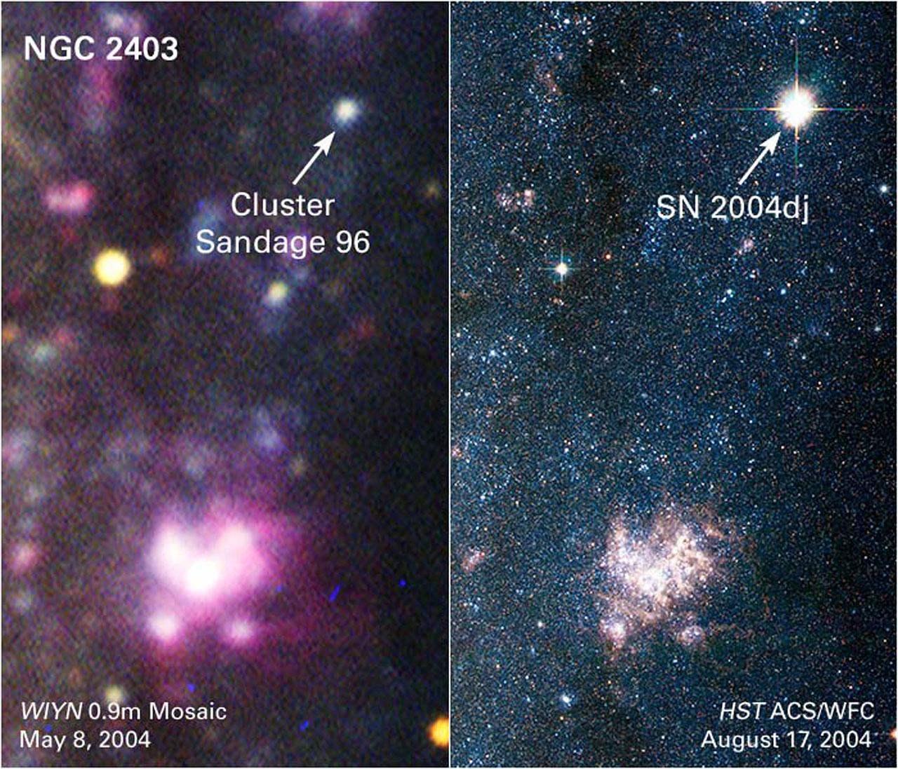 Galaxy NGC 2403: Before And After Supernova 2004dj