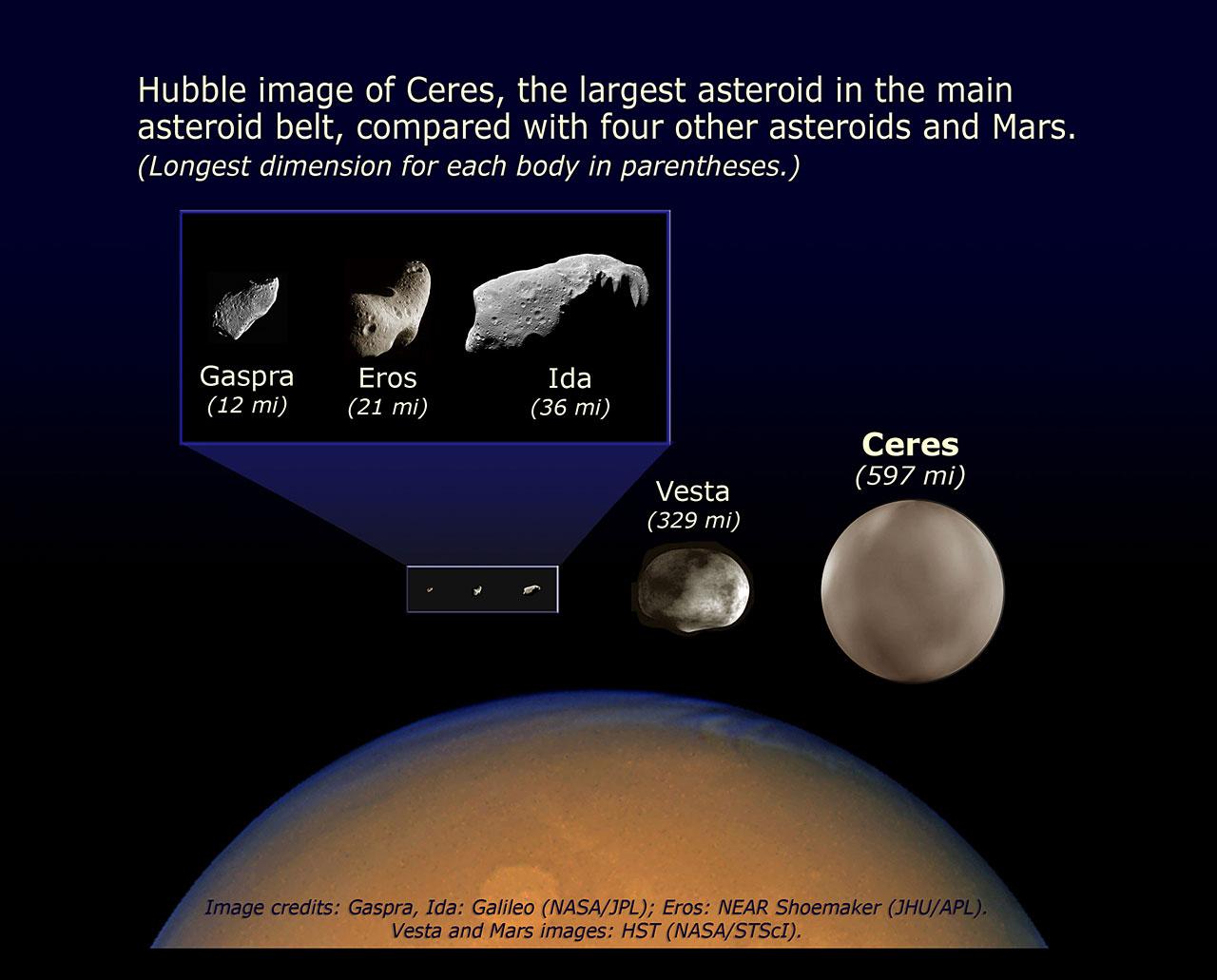 Comparison of asteroid sizes | ESA/Hubble