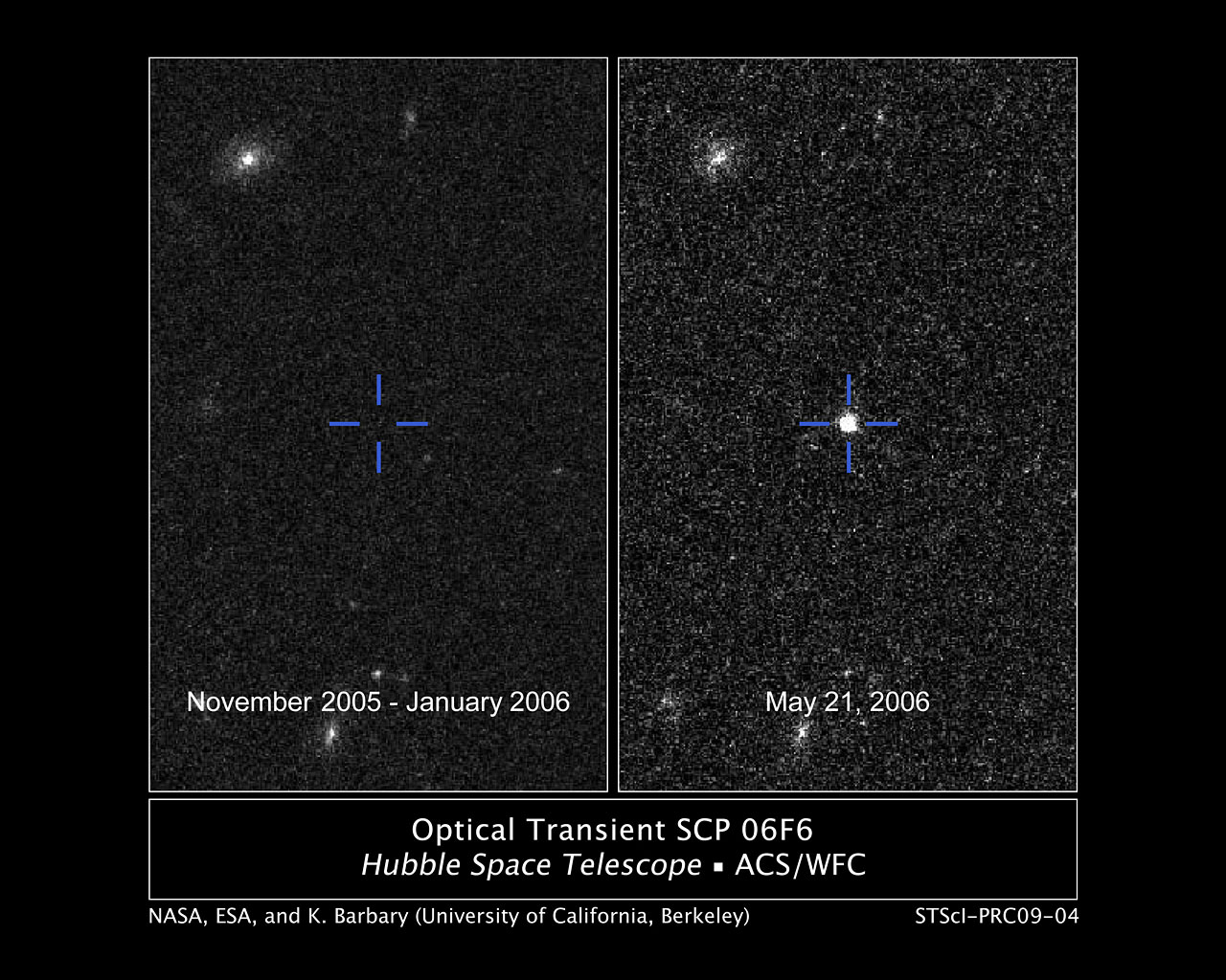 Optical Transient SCP 06F6   ESA/Hubble