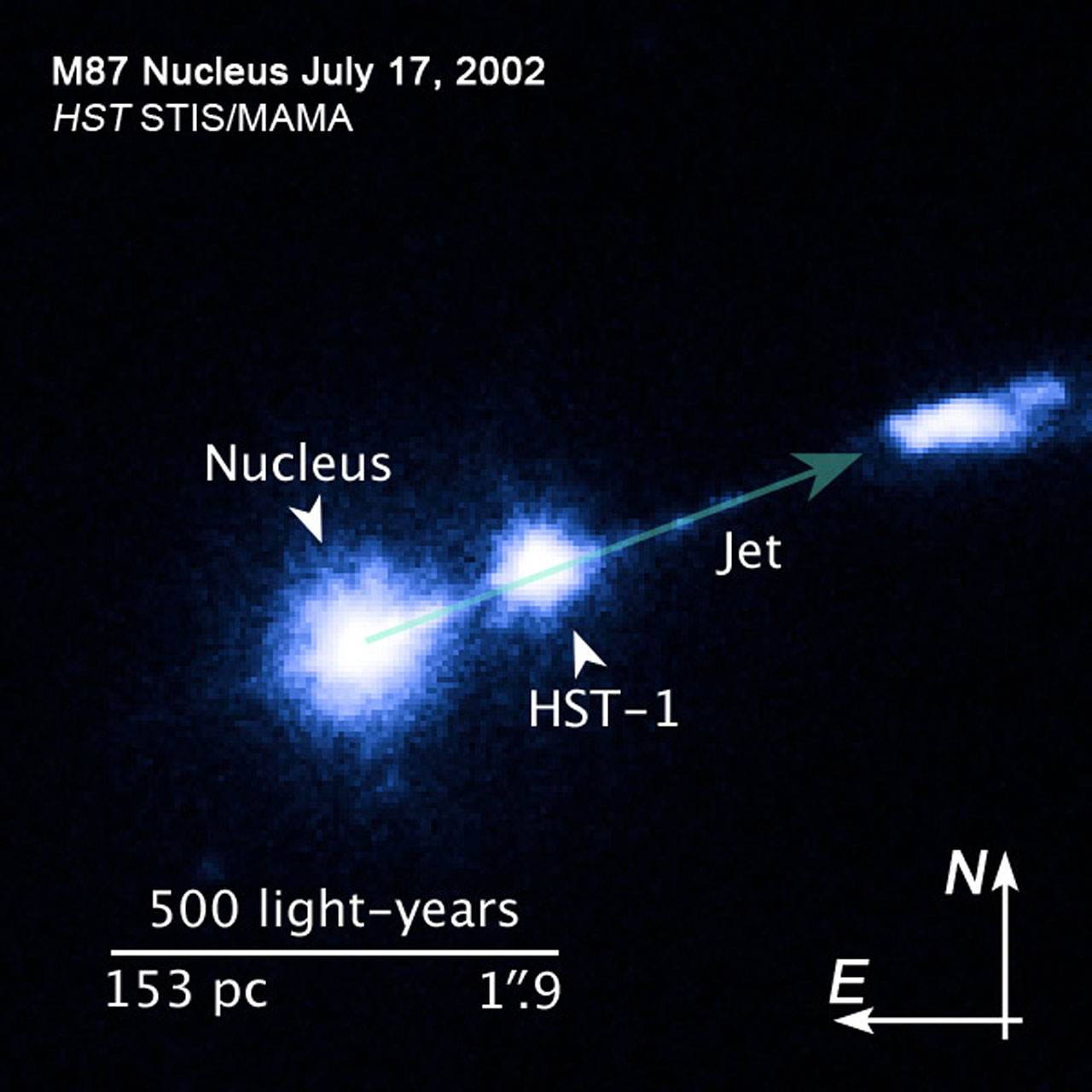 Compass and scale image of M87 jet | ESA/Hubble