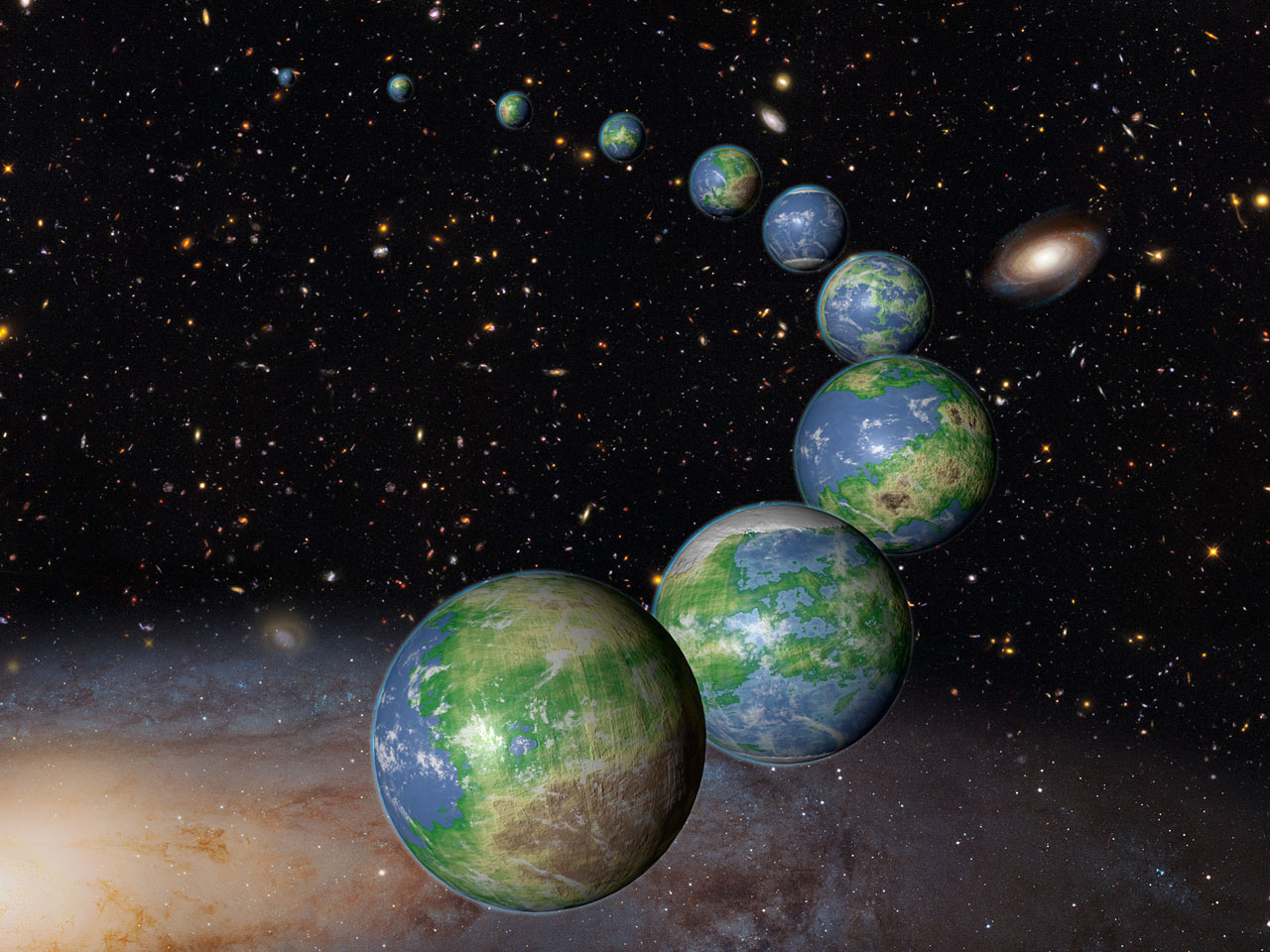 Artist's Concept of Earth-Like Planets in the Future Universe