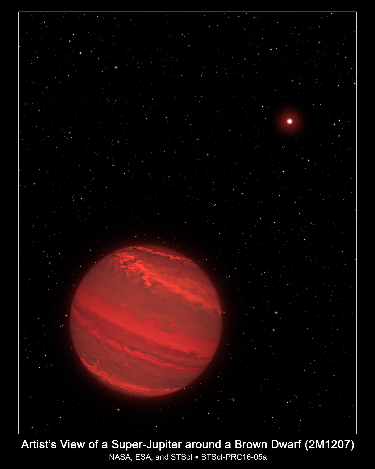 Artist's View of a Super-Jupiter around a Brown Dwarf (2M1207)