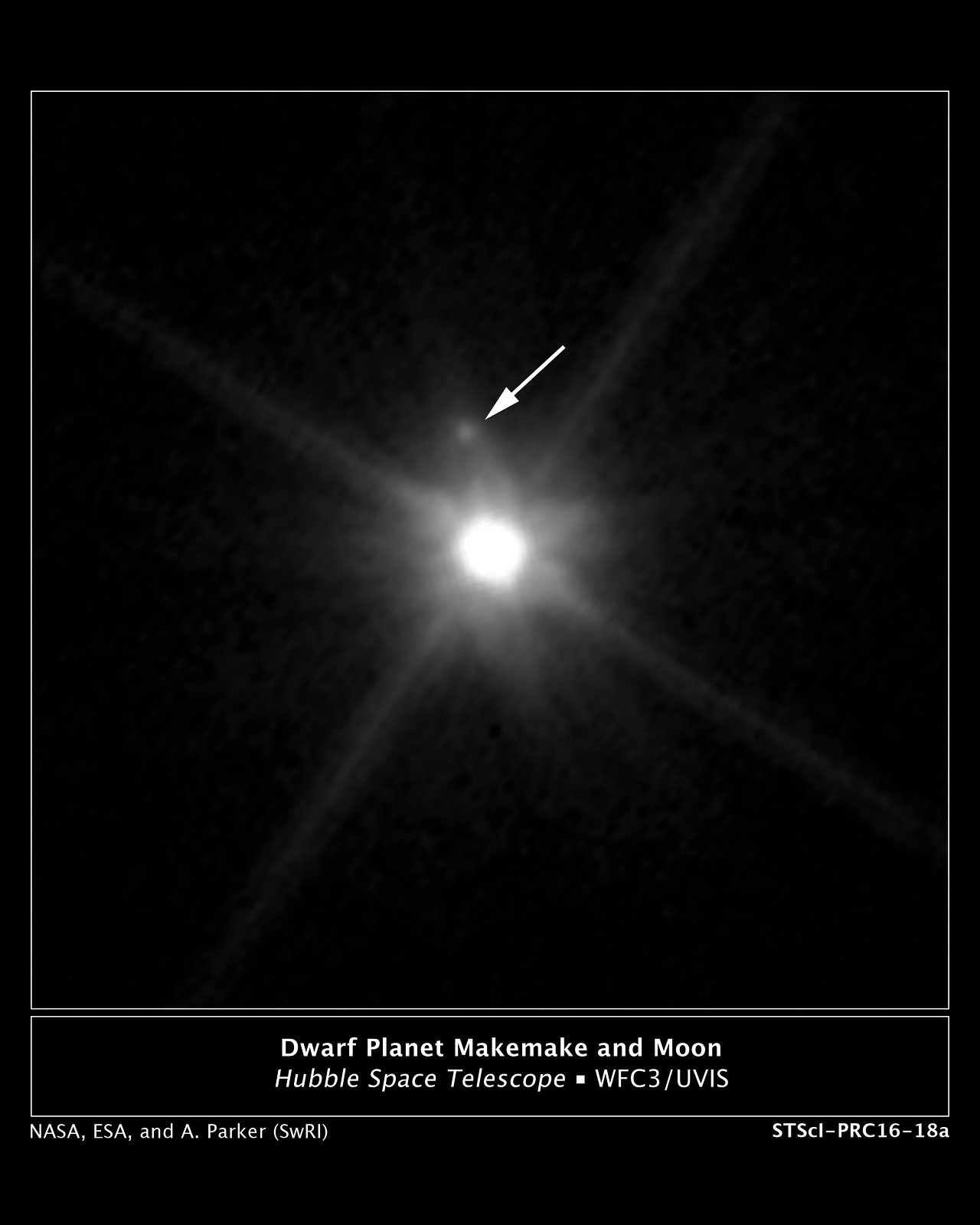 Makemake and its moon (annotated)