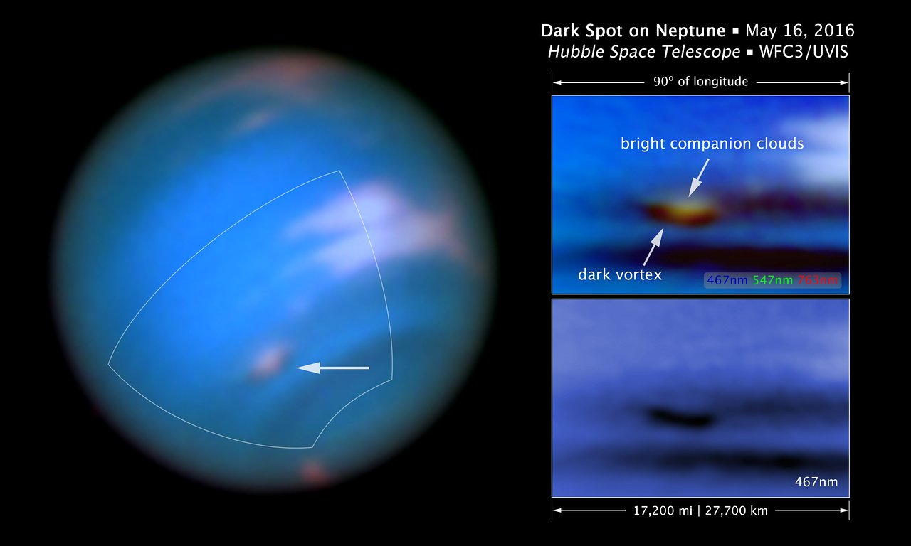 Scale and compass image for dark spot on Neptune