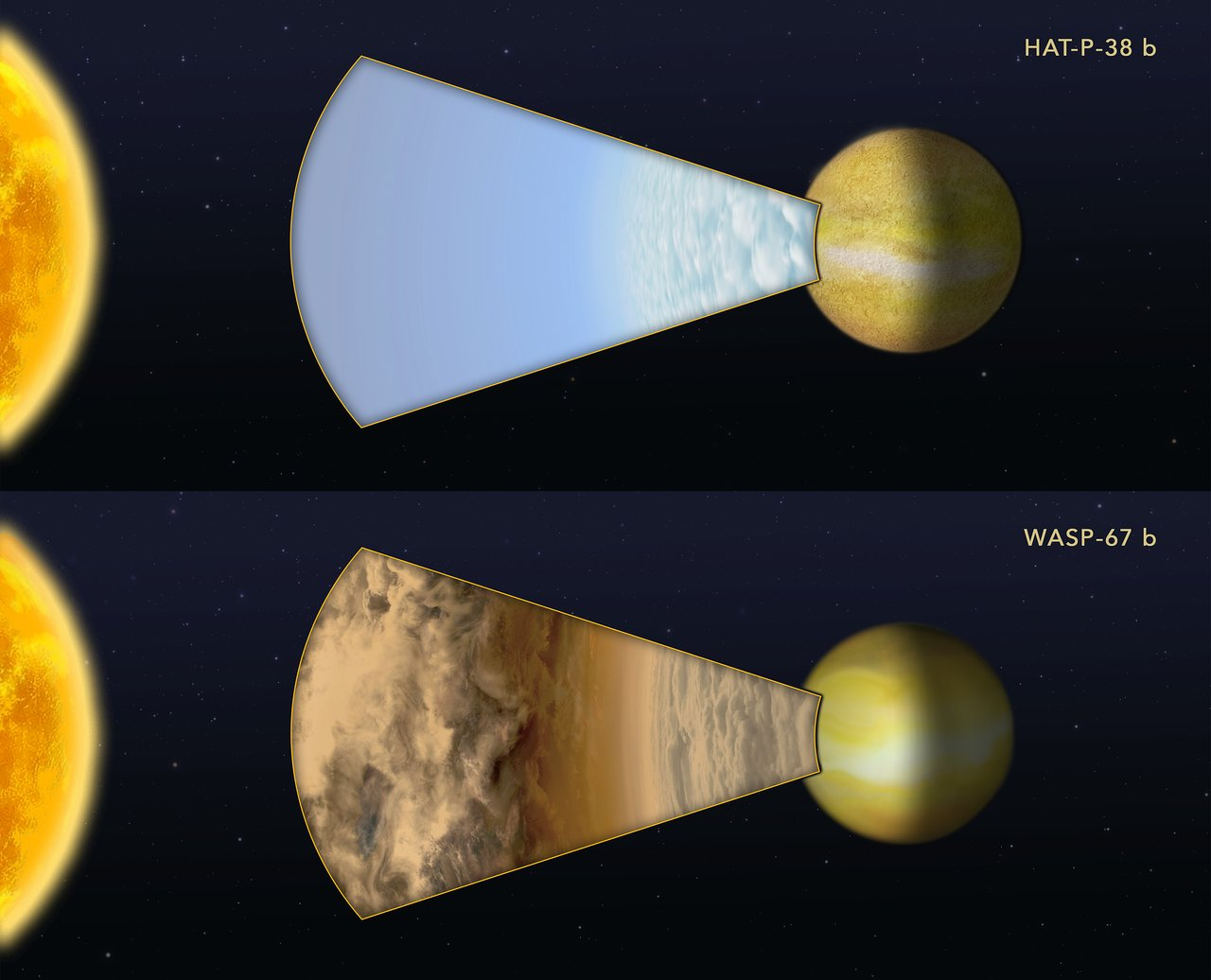 Cloudy versus clear atmospheres on two exoplanets