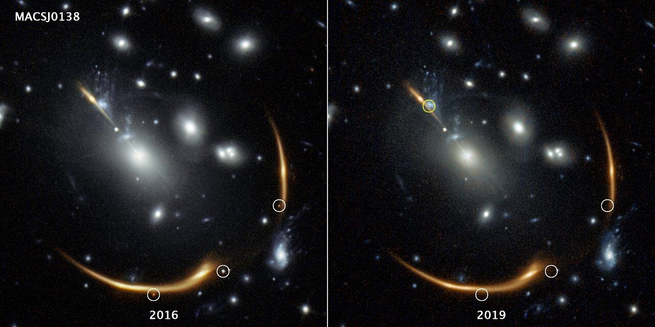 Hubble spots three images of a distant supernova