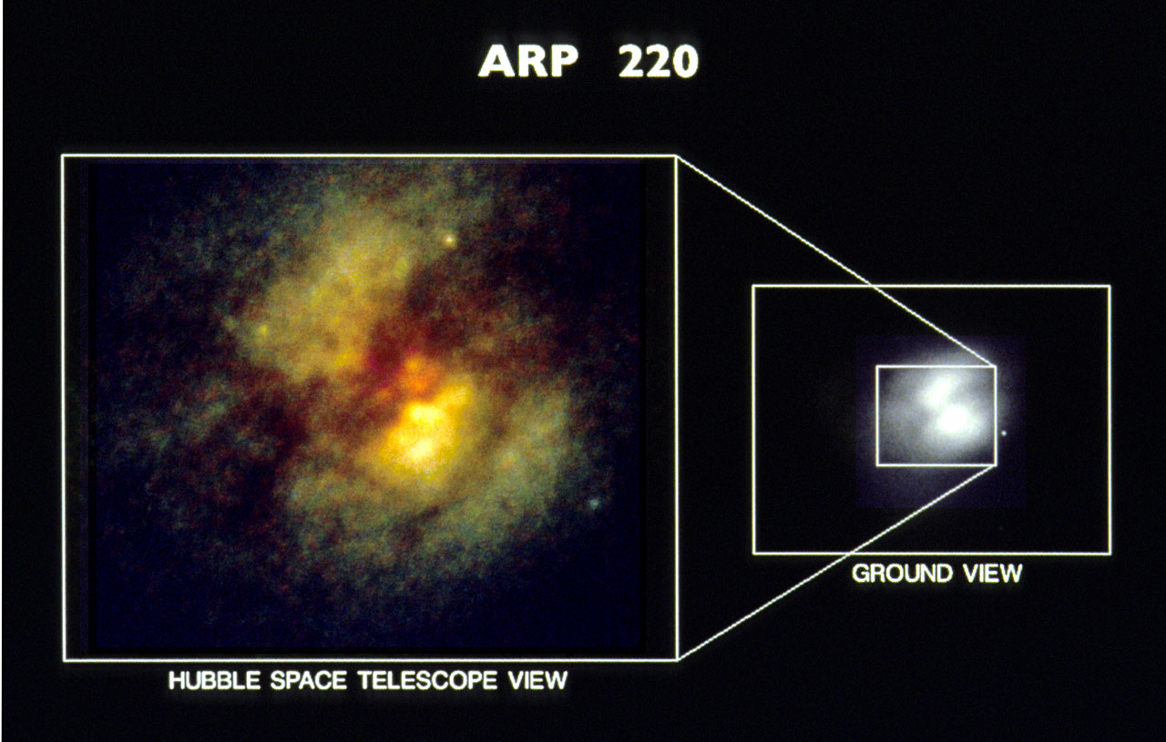 HST planetary camera images of core of peculiar galaxy Arp 220 (ground-based image vs. HST ...