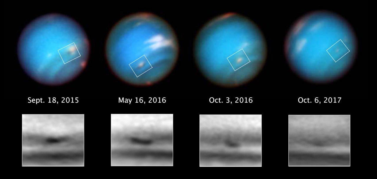 Neptune's shrinking vortex