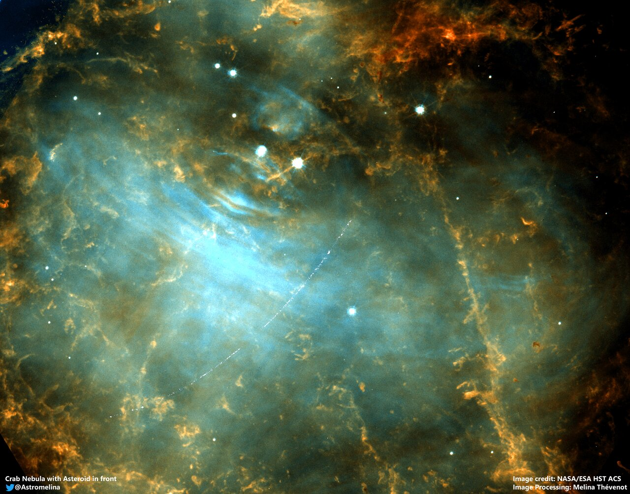 Asteroid in the Crab Nebula (M1)