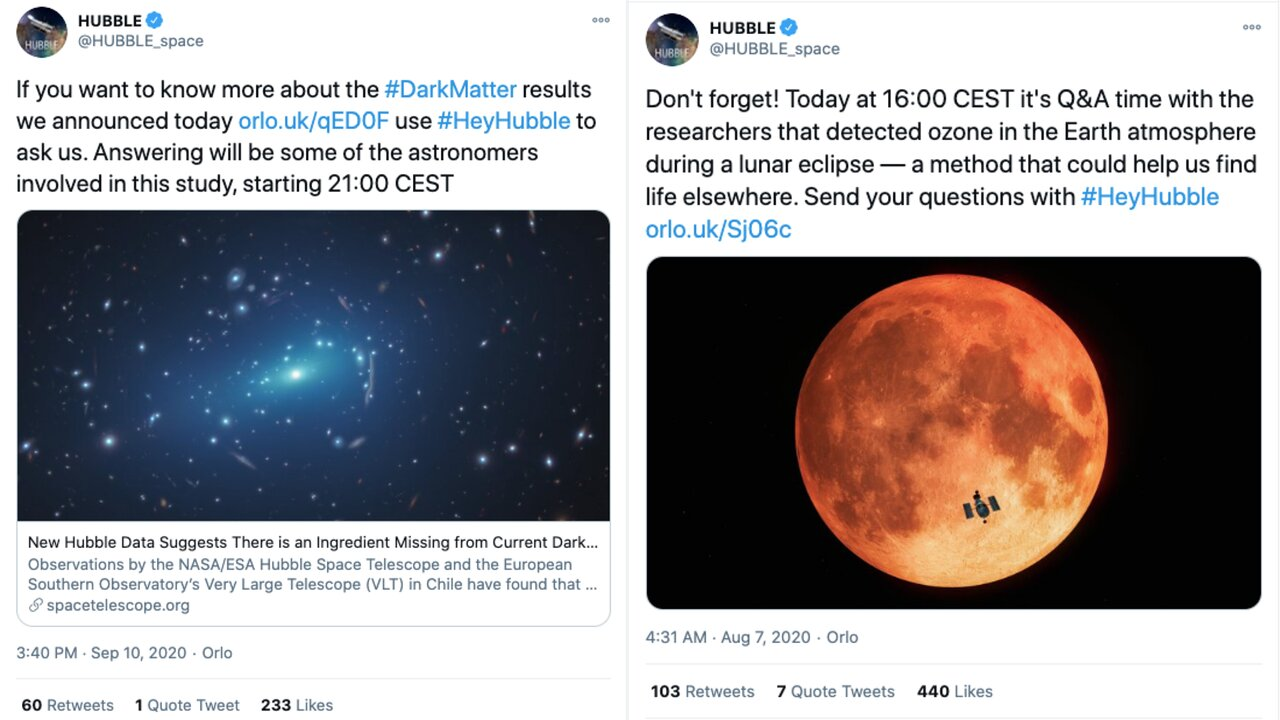 ESA/Hubble Tweets inviting people to the Twitter Q&A's