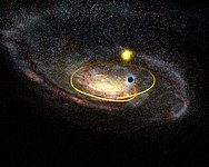 Black hole hurtling across the plane of the Milky Way
