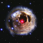 Hubble watches light echo from mysterious erupting star (September 2002 image)
