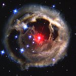 Hubble watches light echo from mysterious erupting star (December 2002 image)