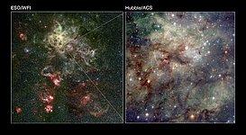 Wide-field and close-up views of the Tarantula Nebula