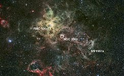 Annotated wide-field view of the Tarantula Nebula (ground-based image)