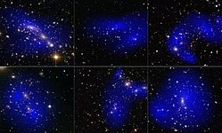 Collage of six cluster collisions with dark matter maps