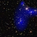 Galaxy cluster Abell 2744 with dark matter map
